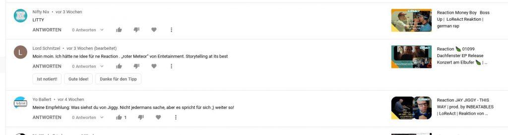 Antworten Vorgefertigt YouTube Ausschnitt